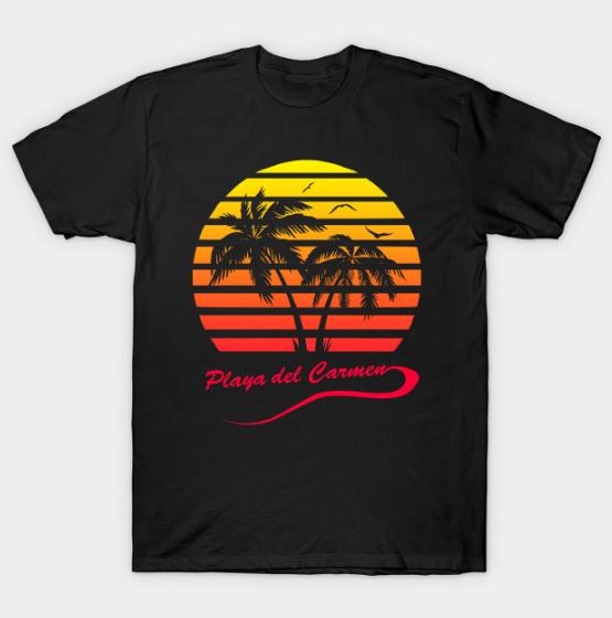 Playa del Carmen 80s Sunset Tshirt