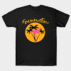 Summertime Flamingo with Palms and Sunset Tee Summer Tshirt