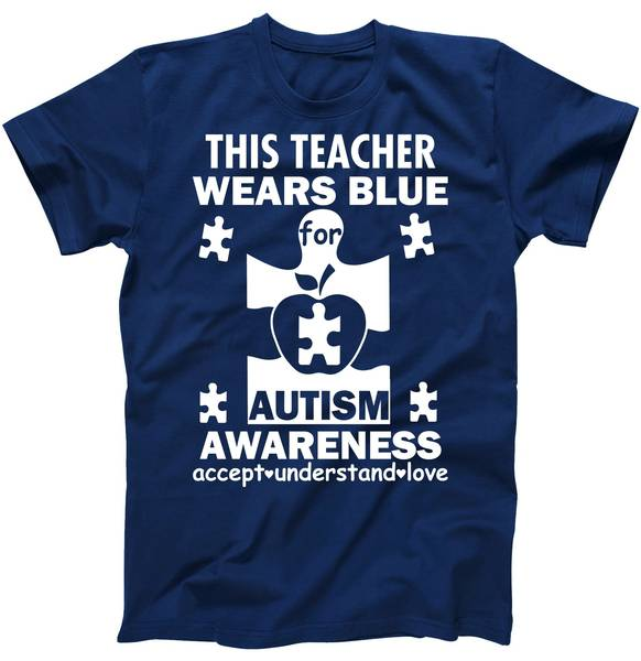 This Teacher Wears Blue Autism Awareness Tshirt