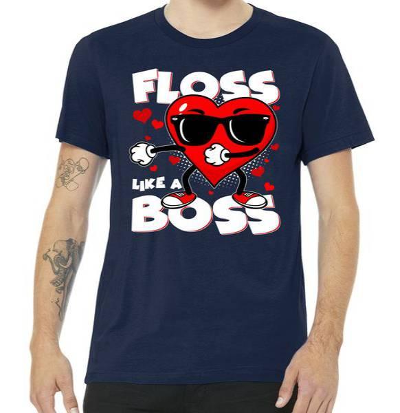 Valentine Floss Like A Boss Heart Tshirt