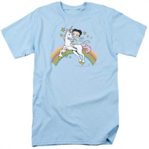 Betty Boop Riding a Unicorn on Rainbows Tshirt