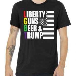 Liberty Guns Beer Trump LGBT Flag Tshirt
