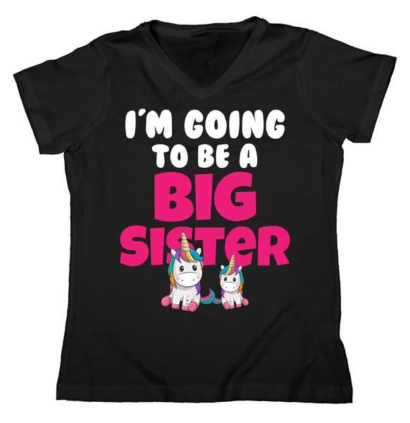 I'm Going To Be A Big Sister Cute Unicorn Women's V-Neck Tshirt