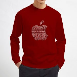 Apple-Typography-Maroon-Sweatshirt-Unisex-Adult-Size-S-3XL