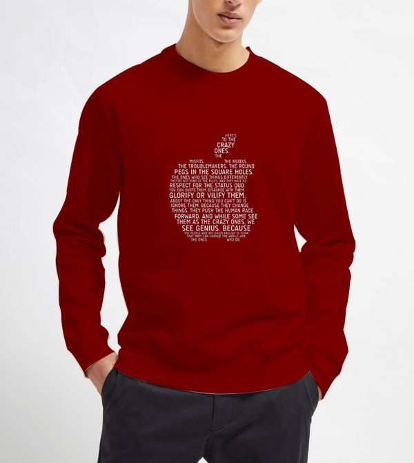 Apple-Typography-Maroon-Sweatshirt-Unisex-Adult-Size-S-3XL