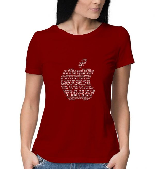 Apple-Typography-Maroon-T-Shirt-For-Women-And-Men-S-3XL